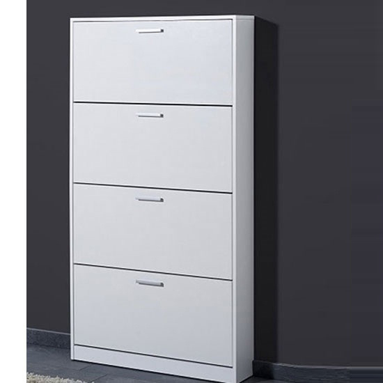 Maximas 4 Tier Shoe Storage Cabinet In White Buy Modern  : 8480 11111sc from furnitureinfashion.net size 550 x 550 jpeg 72kB