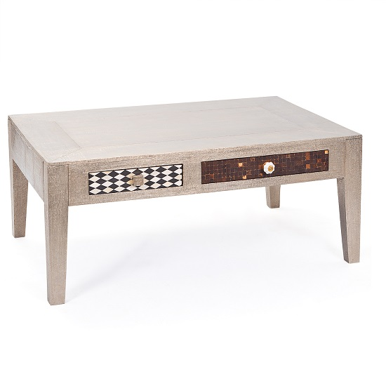 Metalic Coffee Table with Two Drawers
