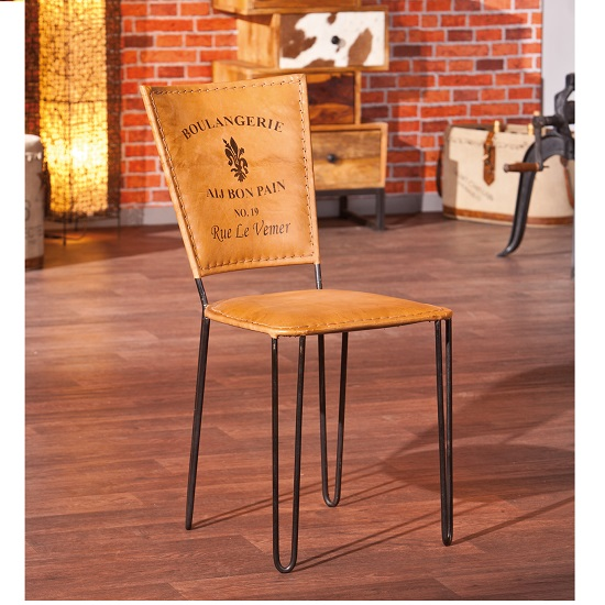Rosi Dining Chair Leather French Design Metal Frame Set Of Two