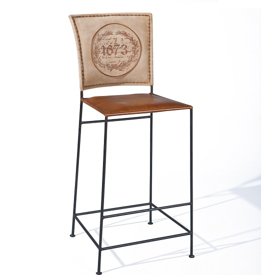 Rosi Bar Chair Canvas Leather French Design Metal Frame