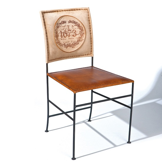 Rosi Dining Chair Canvas Leather French Metal Frame Set Of 2 1
