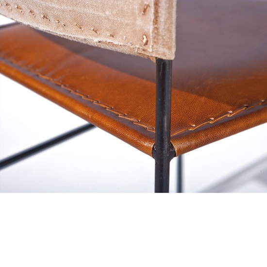Rosi Dining Chair Canvas Leather French Metal Frame Set Of 2 4