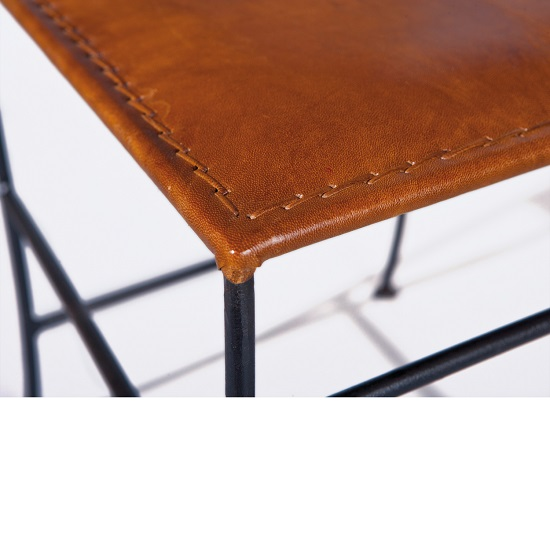 Rosi Dining Chair Canvas Leather French Metal Frame Set Of 2 5