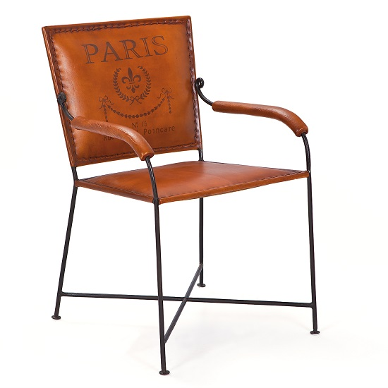 Rosi Dining Chair With Arms Leather French Design Metal Frame 1