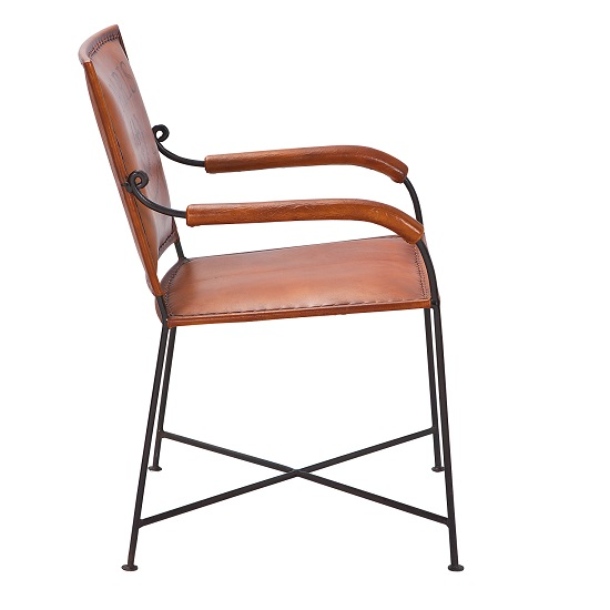 Rosi dining chair with arms leather french design metal for Leather dining chairs with arms
