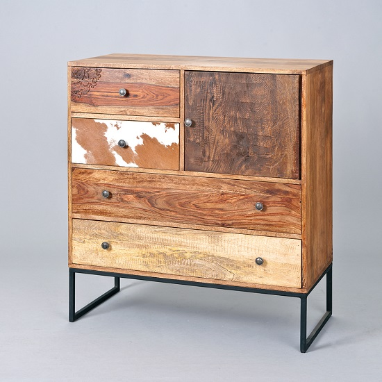 Natural Look Chest Of Drawers In Mango Wood_2