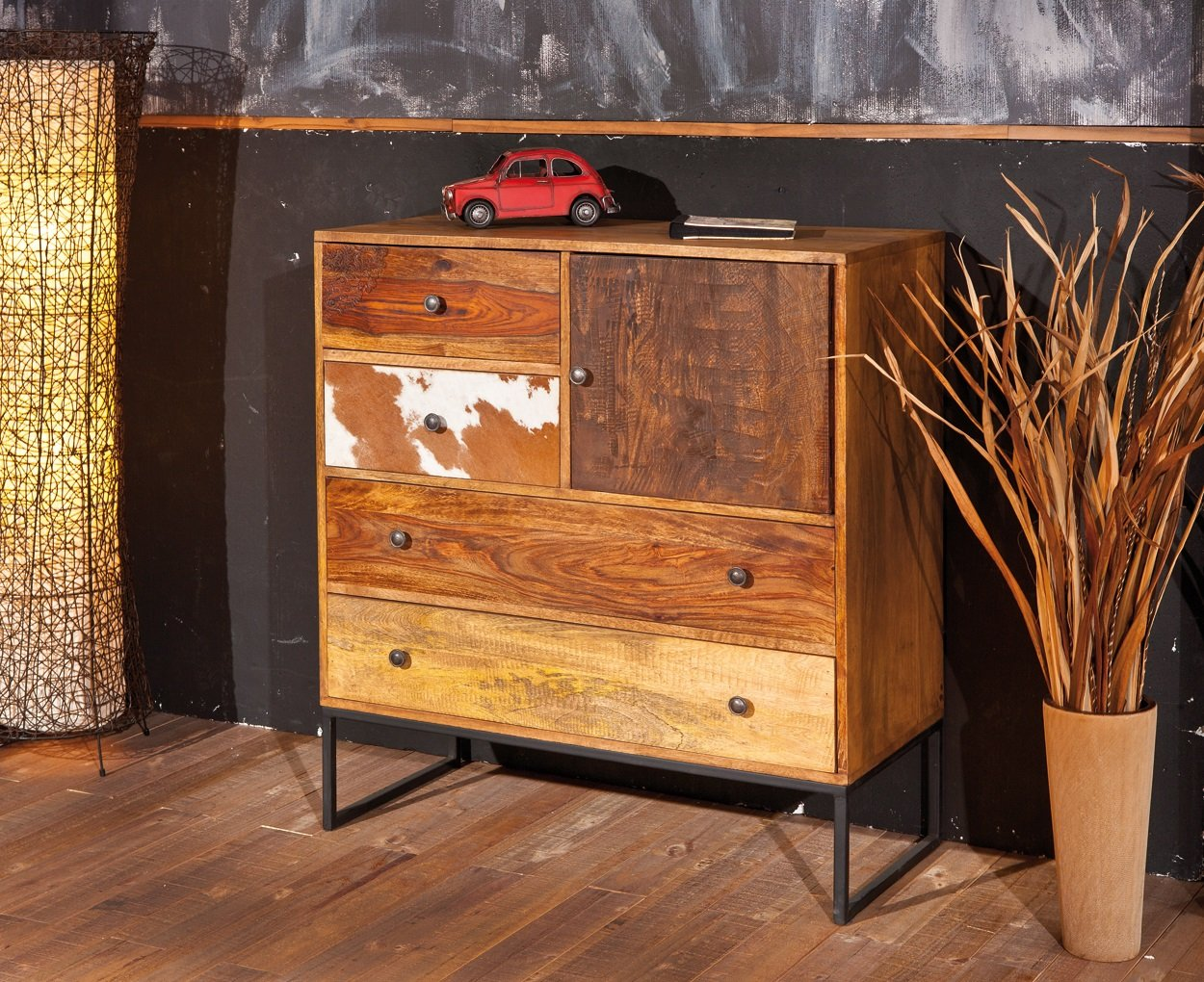 Natural Look Chest Of Drawers In Mango Wood_4