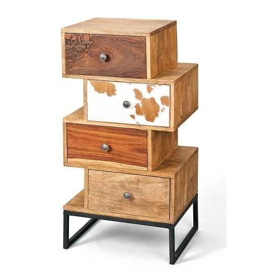 Natural Look Chest Of 4 Drawers In Mango Wood With Cow Fur