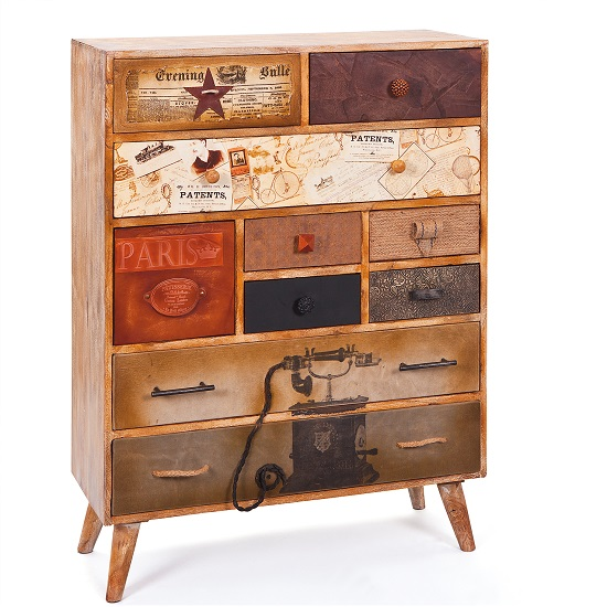 Vintage Style Chest Of Drawers In Mango Wood 25770