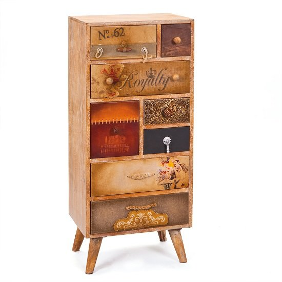 Vintage Style Slim Chest Of Drawers In Mango Wood