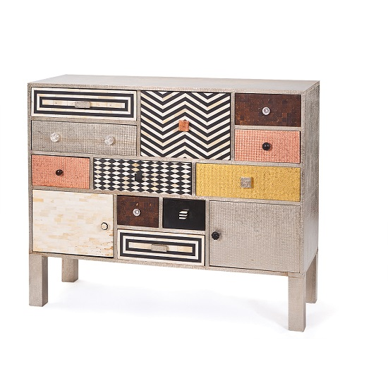 Metalic Highboard Sideboard Chest Of Metal Drawers