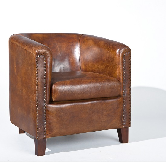 Club Chair In Antique Style Leather Dark Brown_1 - Club Chair In Antique Style Leather Dark  sc 1 st  Antique Furniture & Antique Leather Tub Chair | Antique Furniture