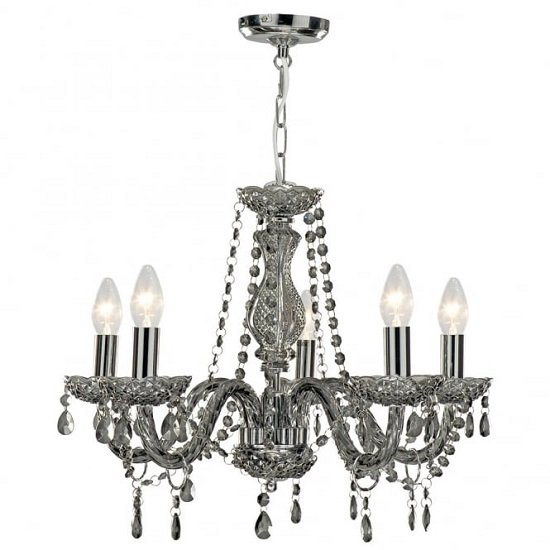 Marie Therese Smoked Grey Five Light Chandelier With Acrylic