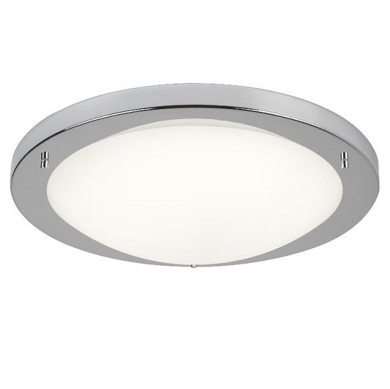 Opal Glass Shape LED Ceiling Lamp in Satin Silver Finish