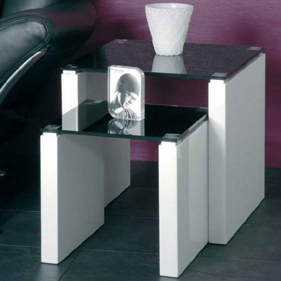 Larus Nesting Tables In Black Glass Furniture In