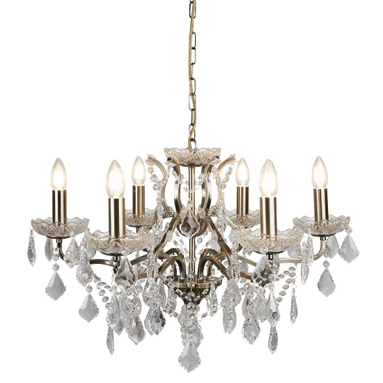 Antique Brass Six Light Chandelier In Clear Crystal Drops