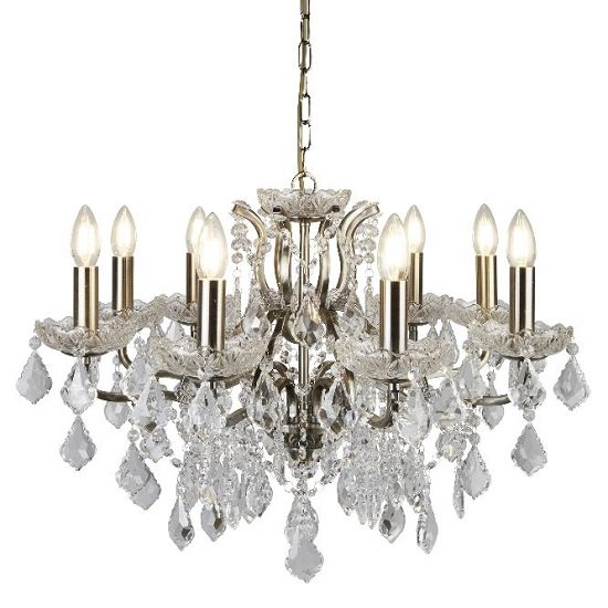 Antique Brass Eight Light Chandelier In Clear Crystal Drops