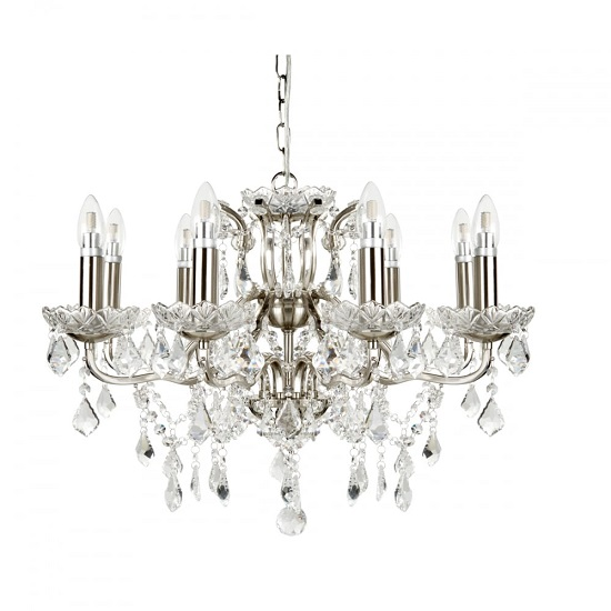 Beautiful Eight Light Chandelier In Clear Crystal Drops