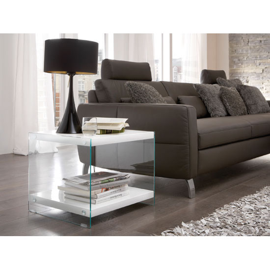 Read more about Olympic high gloss top side table with side glass panels
