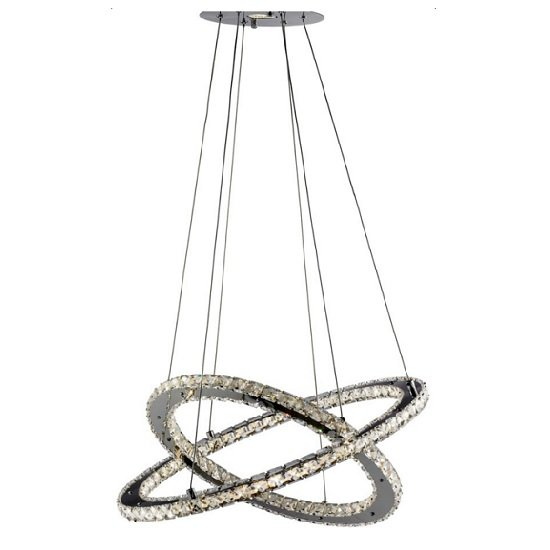 Photo of Clover twin ring ceiling pendant in polished chrome and crystal