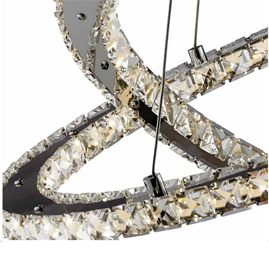 Clover Twin Ring Ceiling Pendant In Polished Chrome And Crystal_3