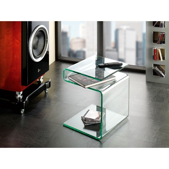 Marven Side Table In Clear Bent Glass