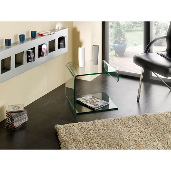 Clear Bent Glass Side Table 87728