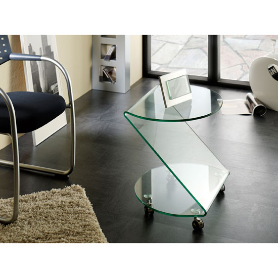 Clear Bent Glass Side Table 87730