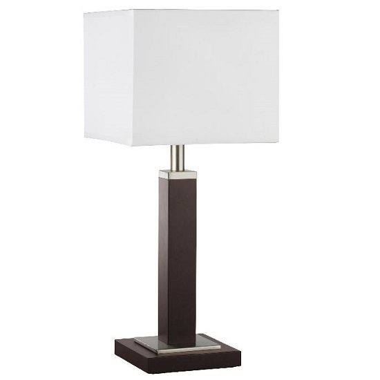 Waverley Brown Wood Table Lamp With Silver And White Shade