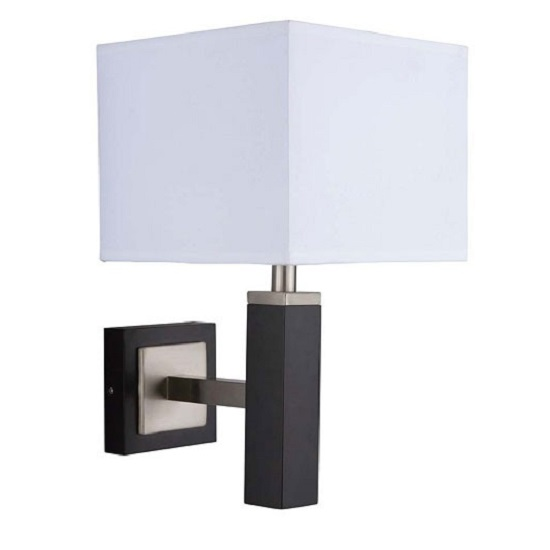 Waverley Dark Wood Finish Wall Lamp With Square Fabric Shade