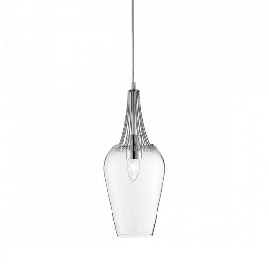 Whisk Chrome Trim Pendant Lamp And Grey Ceiling Suspension_1