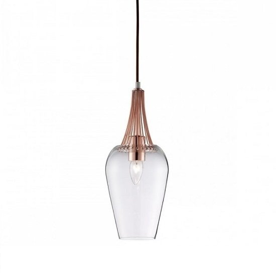 Whisk Copper Finish Pendant Lamp With Clear Glass Shade