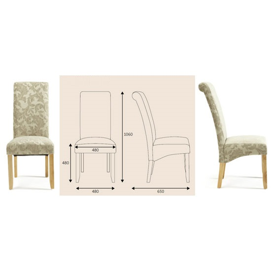 Ameera Dining Chair In Floral Sage Fabric And Oak in A Pair_5