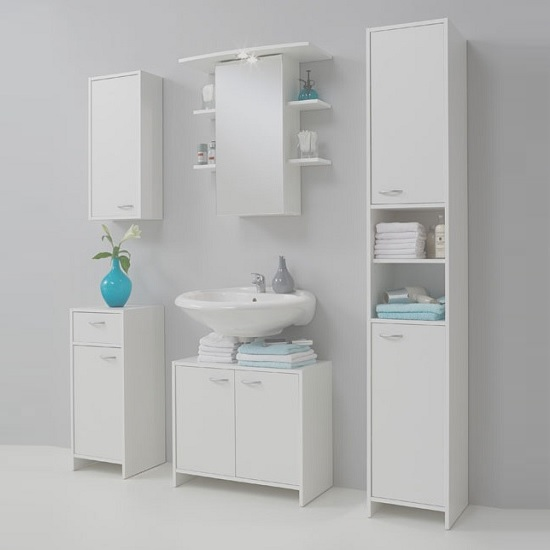 Madrid1 Wall Mount Bathroom Storage Cabinet In White With 1 Door_3