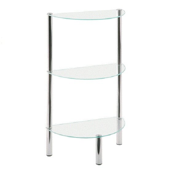 3 Tier Display Stand unit In Half Moon Glass With Chrome Tube
