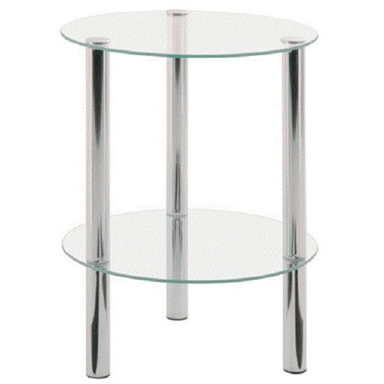 2 Tier Clear Glass Table With Chrome Legs