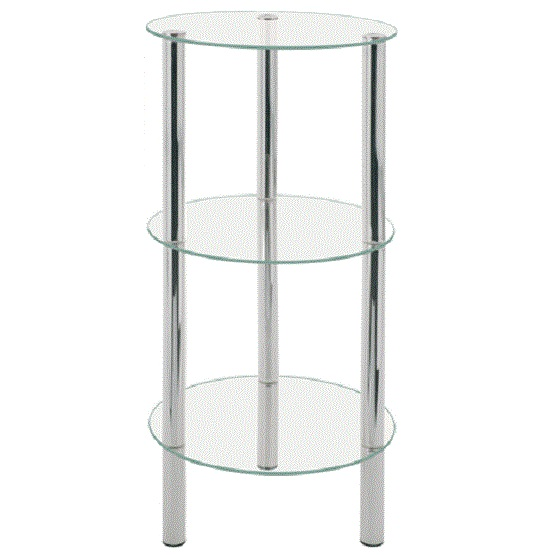 3 Tier Display Stands With Round Glass And Chrome Legs