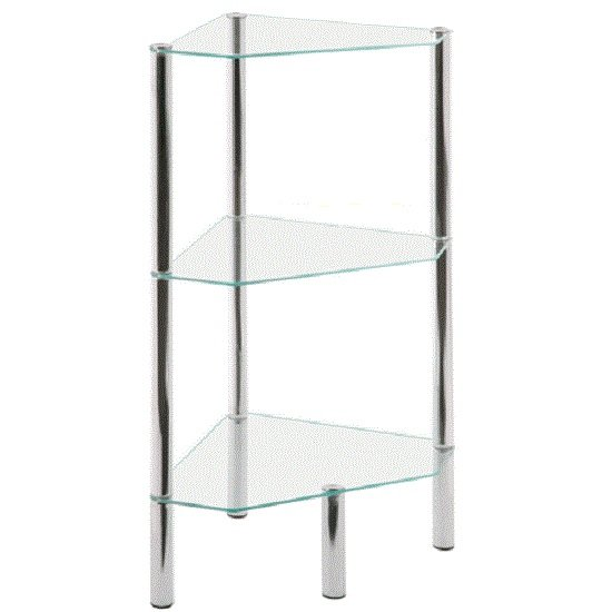Image of 3 Tier Corner Display Unit In Clear Glass With Chrome Legs