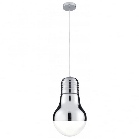 Neo Chrome Bulb Shape Pendant Light With Clear Glass