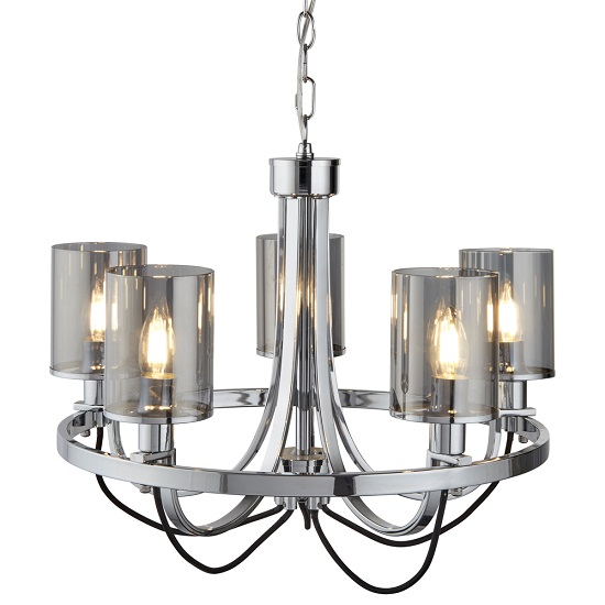 Catalina Chrome Ceiling Light With Smoked Glass Shades_1