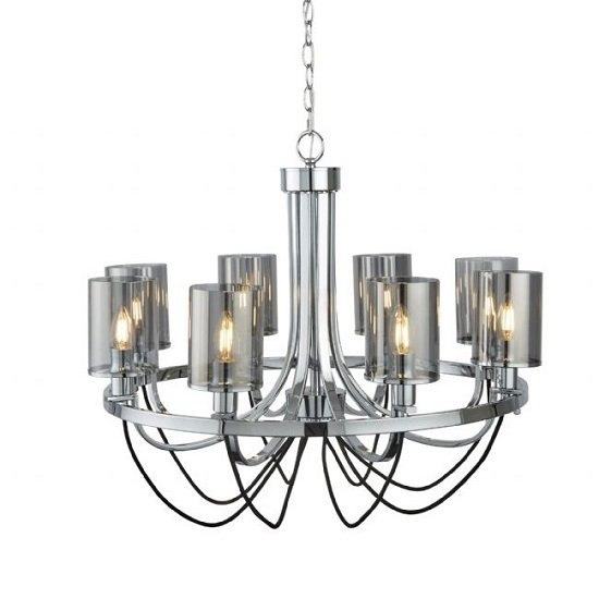 Catalina Chrome Ceiling Cable Lamp With Smoked Glass Shades