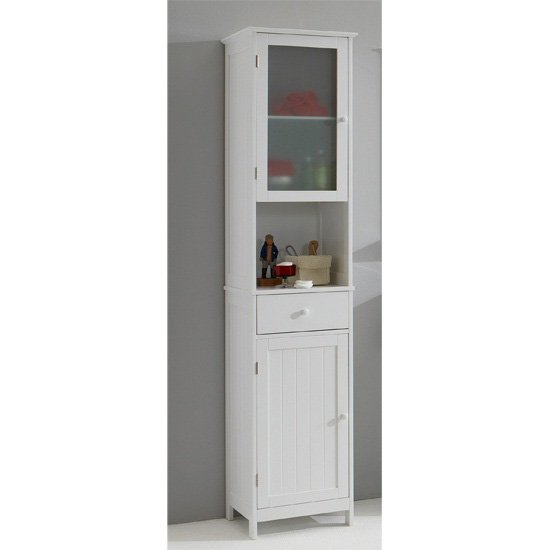 Sweden1 free standing tall bathroom cabinet in white 13553 for White bathroom cabinets free standing