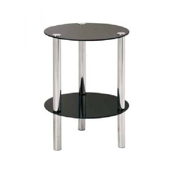 Image of 2 Tier Display Stand In Round Black Glass With Chrome Frame