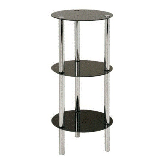 3 Tier Display Unit In Round Black Glass With Chrome Frame