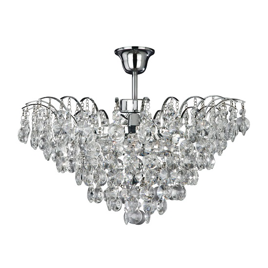 Limoges Chrome Light Semi-flush Trimmed With Sunflower Crystals