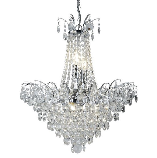 Limoges Chrome Six Light Chandelier With Crystal Strings And Sun