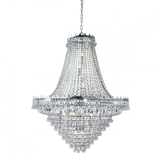 Versailles Chrome 19 Light Chandelier Trimmed With Crystal