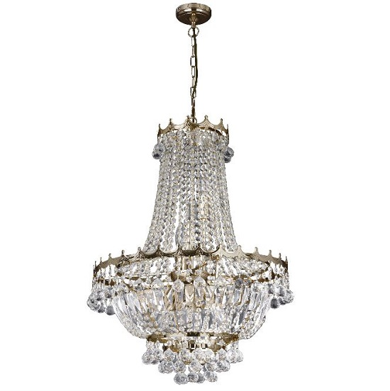 Versailles Gold Nine Light Chandelier Trimmed With Crystal