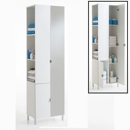 Tarragona 2 tall bathroom cabinet in white with mirrored - Tall bathroom storage cabinets with doors ...