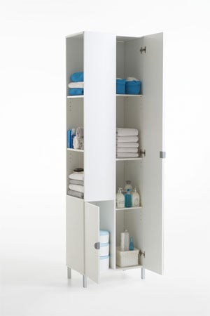 Tarragona 2 tall bathroom cabinet in white with mirrored - Etagere angle salle de bain ...